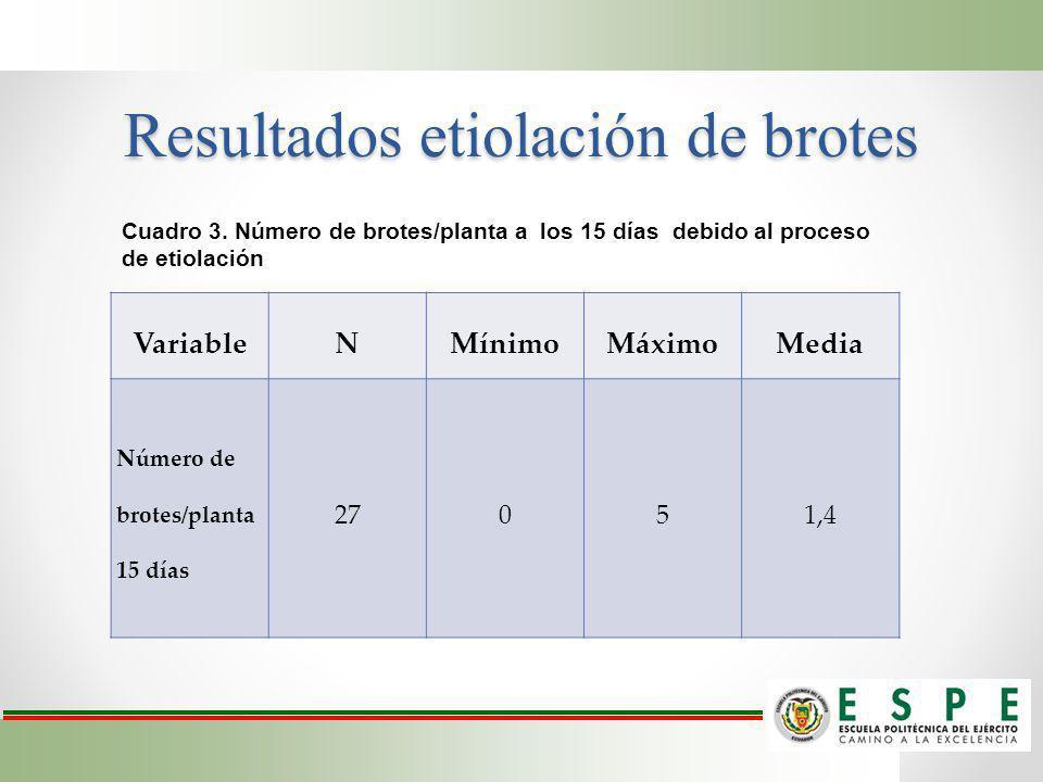 Resultados etiolación de brotes VariableNMínimoMáximoMedia Número de brotes/planta 15 días 27051,4 Cuadro 3. Número de brotes/planta a los 15 días deb