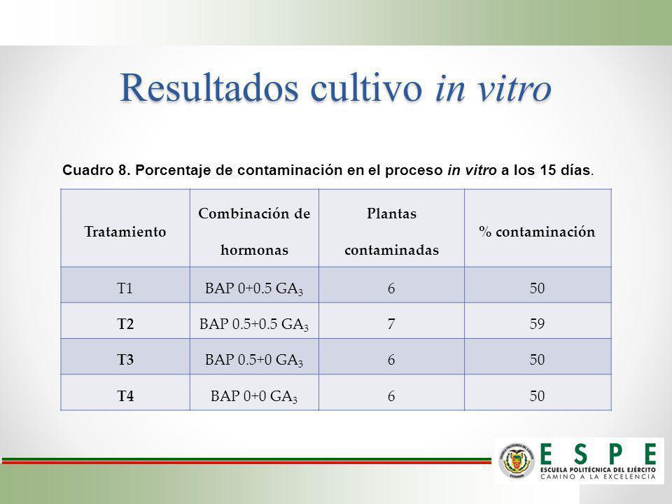 Resultados cultivo in vitro Tratamiento Combinación de hormonas Plantas contaminadas % contaminación T1 BAP 0+0.5 GA 3 650 T2 BAP 0.5+0.5 GA 3 759 T3