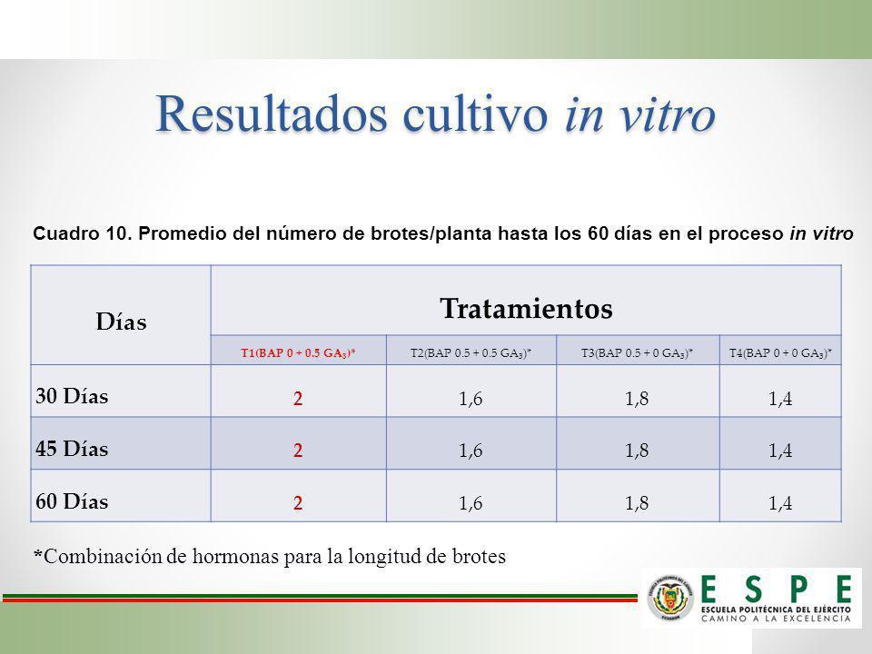 Resultados cultivo in vitro Días Tratamientos T1(BAP 0 + 0.5 GA 3 )*T2(BAP 0.5 + 0.5 GA 3 )*T3(BAP 0.5 + 0 GA 3 )*T4(BAP 0 + 0 GA 3 )* 30 Días 21,61,8