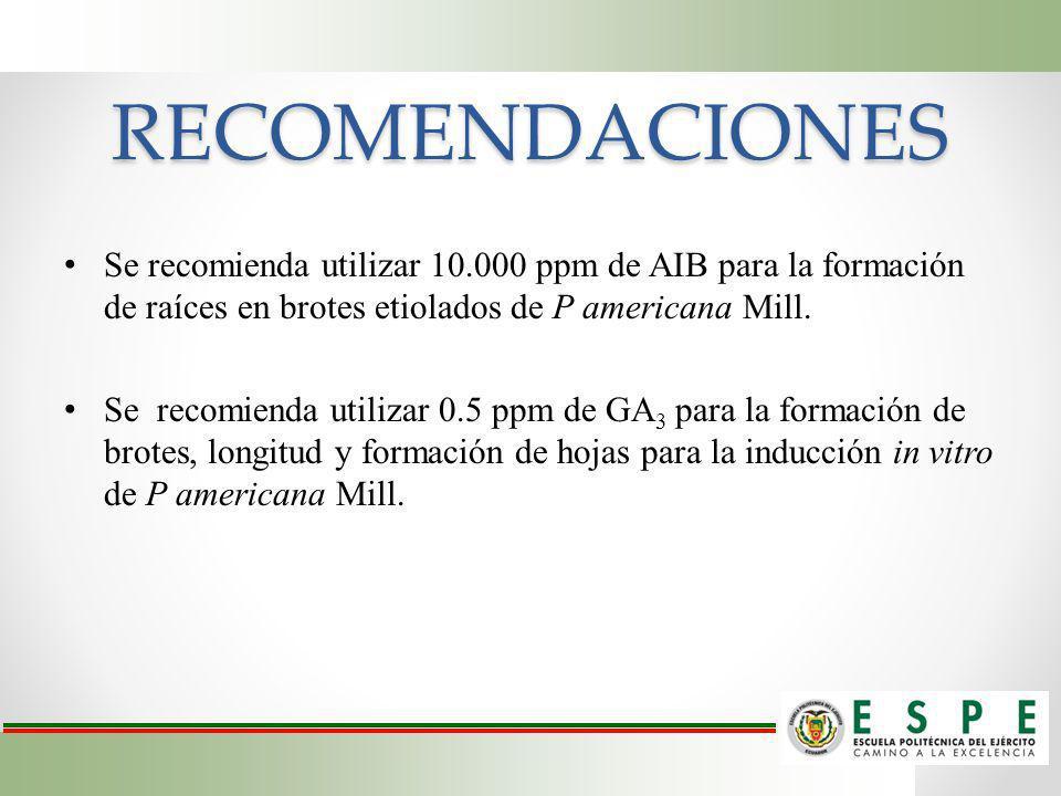 RECOMENDACIONES Se recomienda utilizar 10.000 ppm de AIB para la formación de raíces en brotes etiolados de P americana Mill. Se recomienda utilizar 0