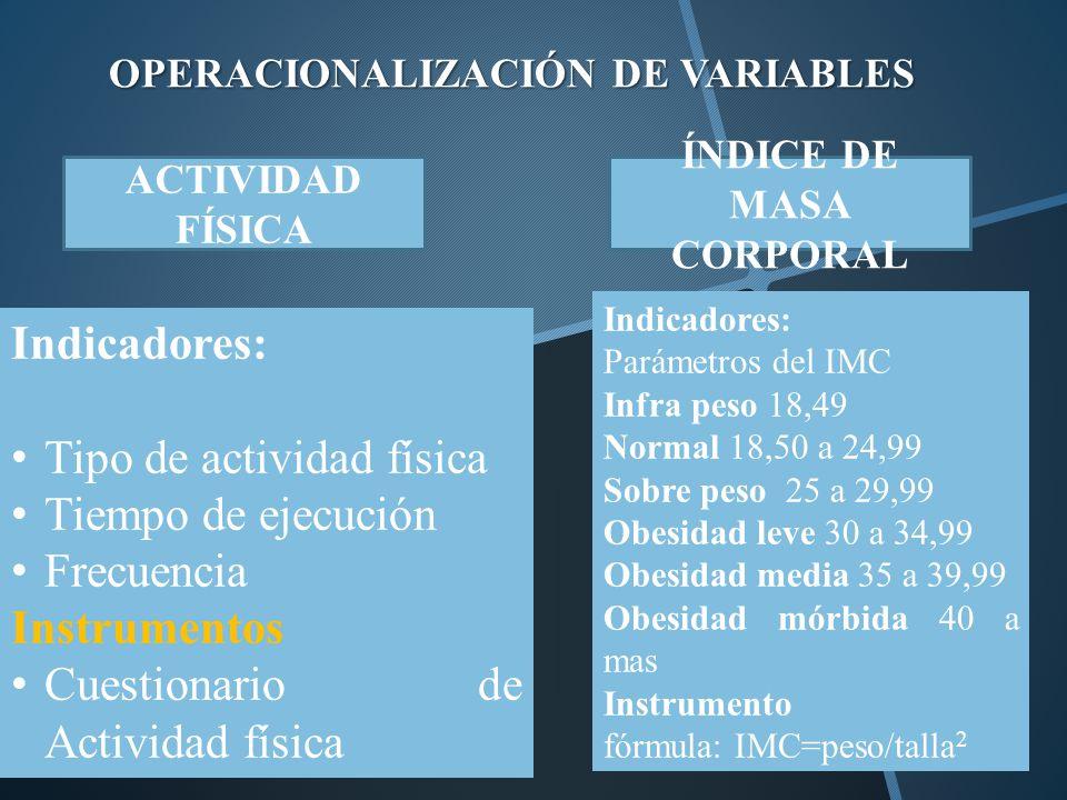 OPERACIONALIZACIÓN DE VARIABLES Indicadores: Tipo de actividad física Tiempo de ejecución Frecuencia Instrumentos Cuestionario de Actividad física ACT