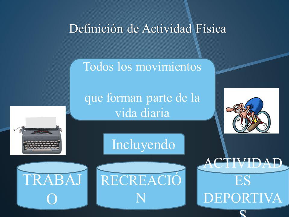 Definición de Actividad Física Todos los movimientos que forman parte de la vida diaria Incluyendo TRABAJ O RECREACIÓ N ACTIVIDAD ES DEPORTIVA S