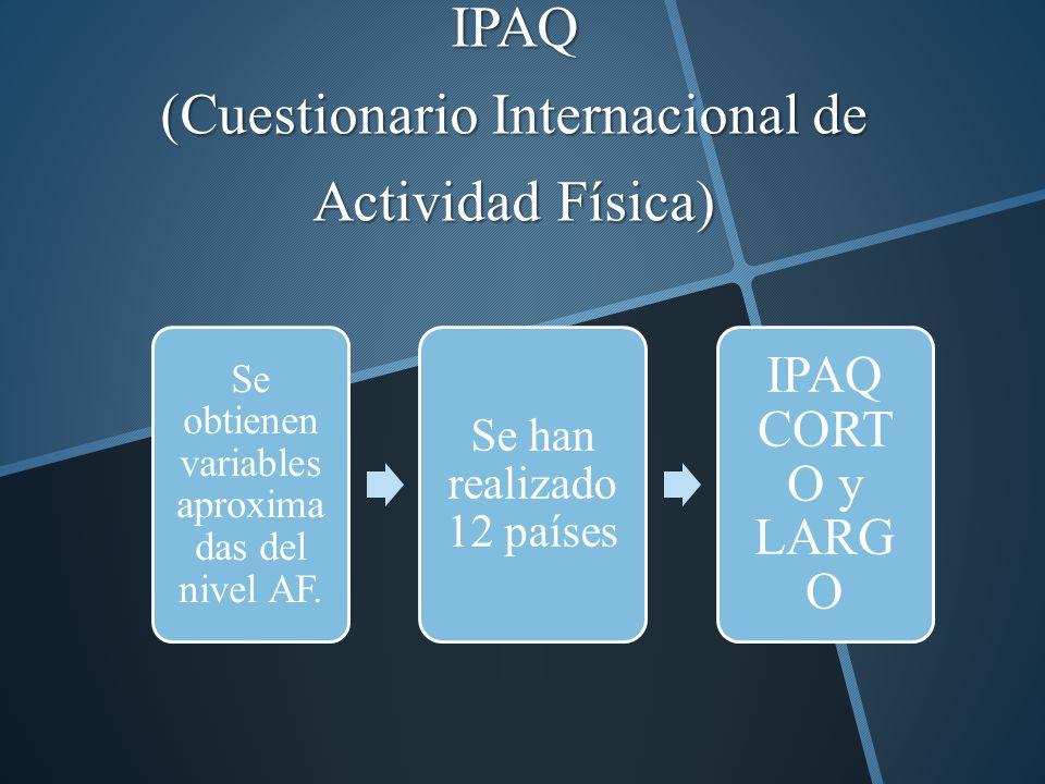 IPAQ (Cuestionario Internacional de Actividad Física) Se obtienen variables aproxima das del nivel AF. Se han realizado 12 países IPAQ CORT O y LARG O