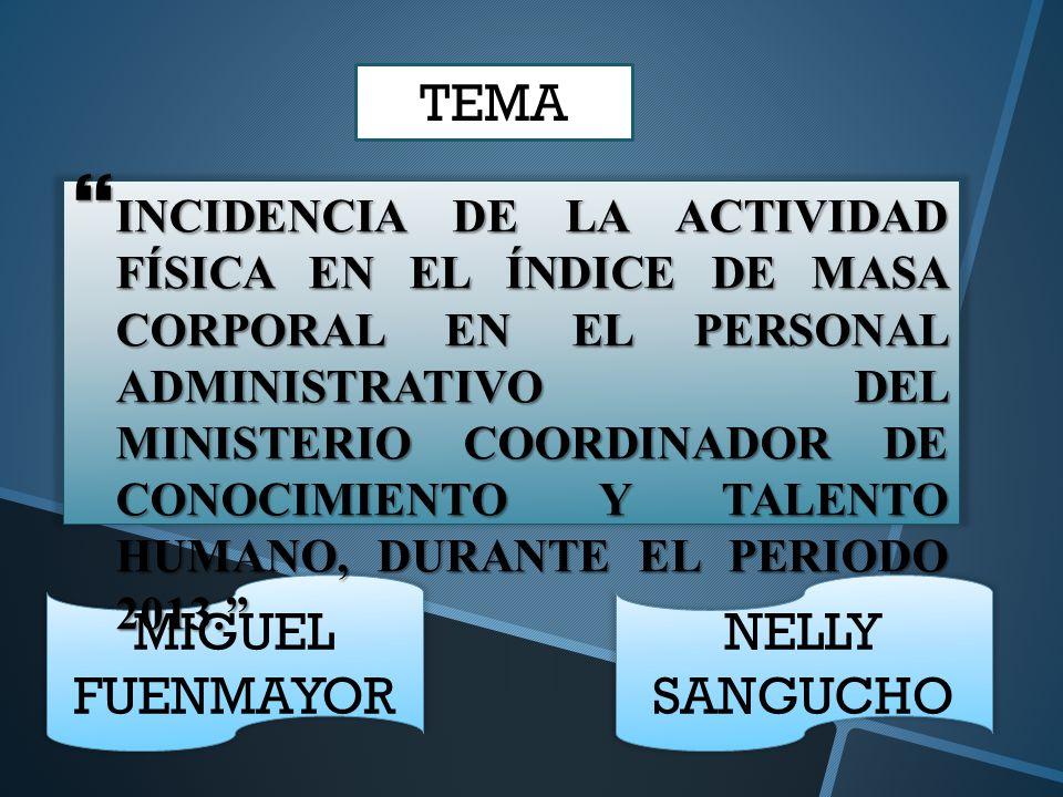 MIGUEL FUENMAYOR NELLY SANGUCHO INCIDENCIA DE LA ACTIVIDAD FÍSICA EN EL ÍNDICE DE MASA CORPORAL EN EL PERSONAL ADMINISTRATIVO DEL MINISTERIO COORDINAD