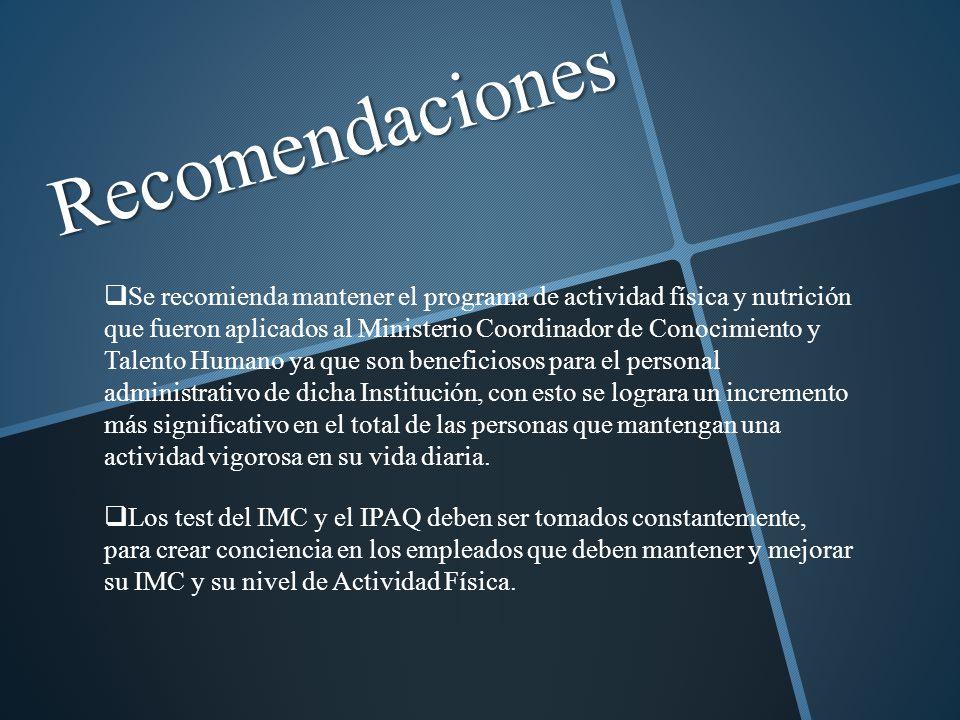 Recomendaciones Se recomienda mantener el programa de actividad física y nutrición que fueron aplicados al Ministerio Coordinador de Conocimiento y Ta