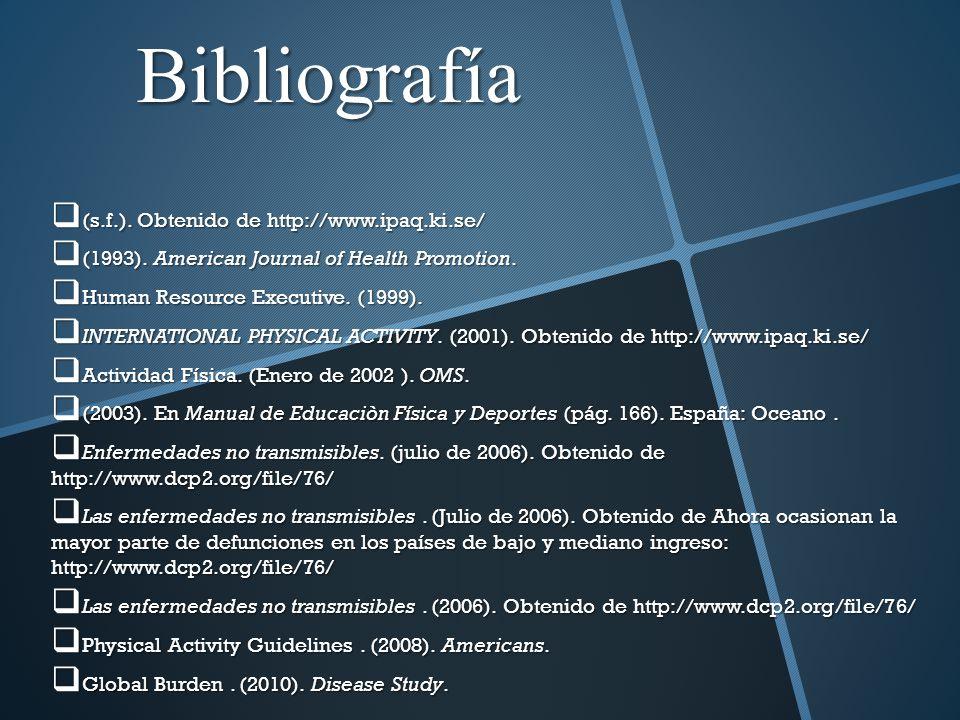 Bibliografía (s.f.). Obtenido de http://www.ipaq.ki.se/ (s.f.). Obtenido de http://www.ipaq.ki.se/ (1993). American Journal of Health Promotion. (1993