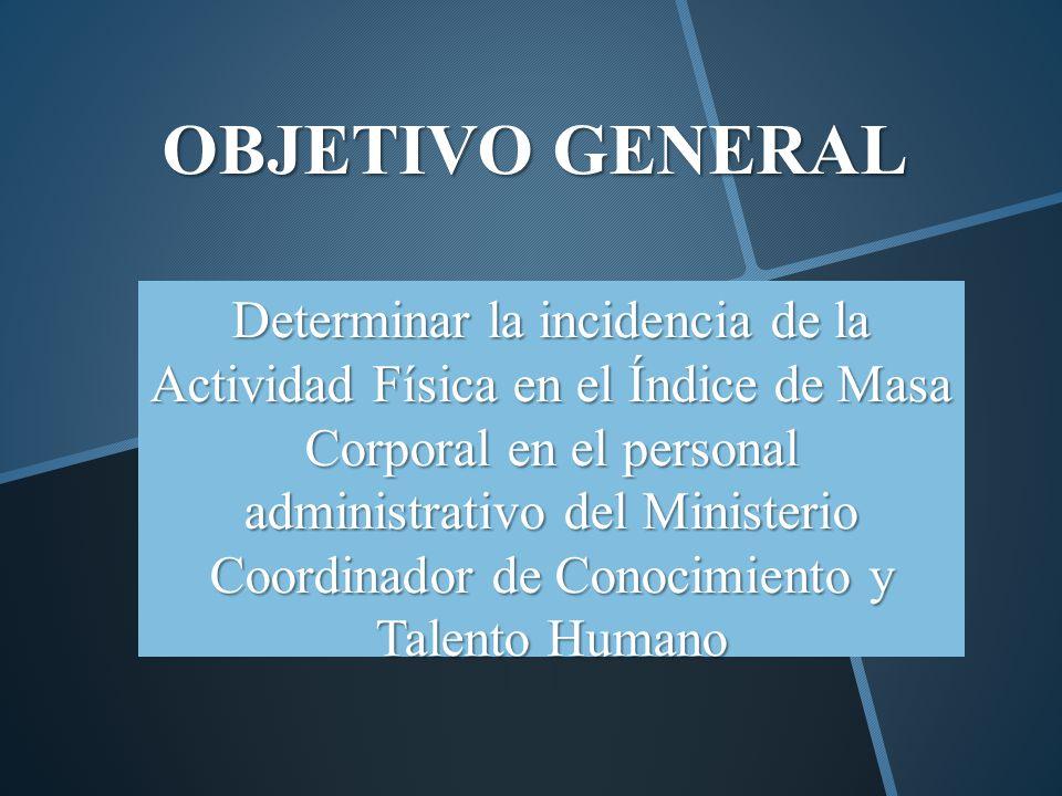 OBJETIVO GENERAL Determinar la incidencia de la Actividad Física en el Índice de Masa Corporal en el personal administrativo del Ministerio Coordinado