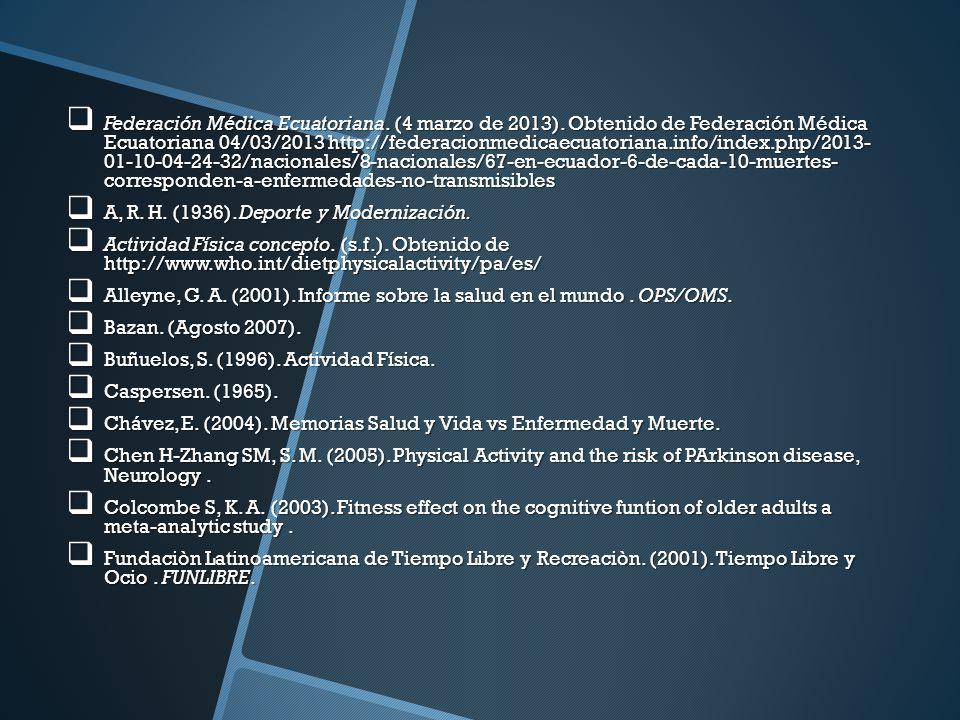 Federación Médica Ecuatoriana. (4 marzo de 2013). Obtenido de Federación Médica Ecuatoriana 04/03/2013 http://federacionmedicaecuatoriana.info/index.p