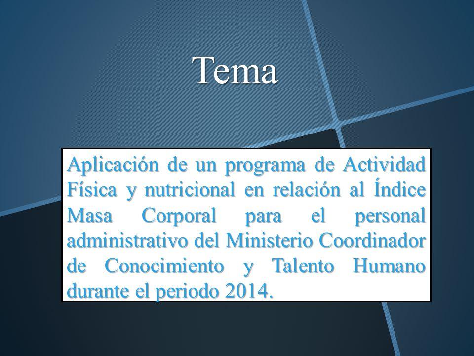 Tema Aplicación de un programa de Actividad Física y nutricional en relación al Índice Masa Corporal para el personal administrativo del Ministerio Co