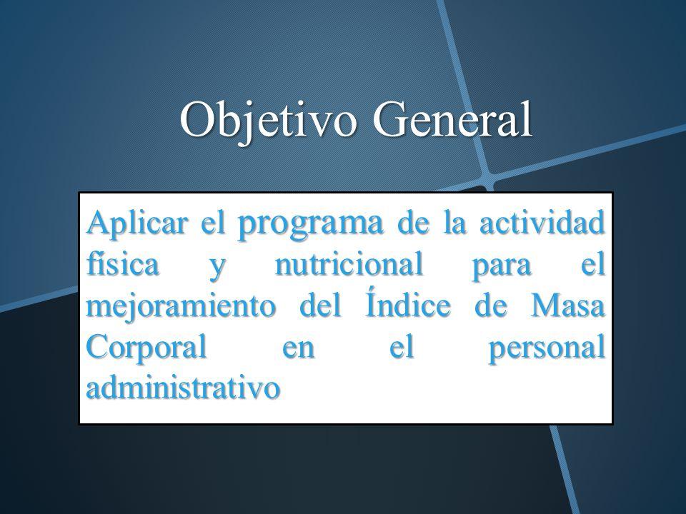 Objetivo General Aplicar el programa de la actividad física y nutricional para el mejoramiento del Índice de Masa Corporal en el personal administrati