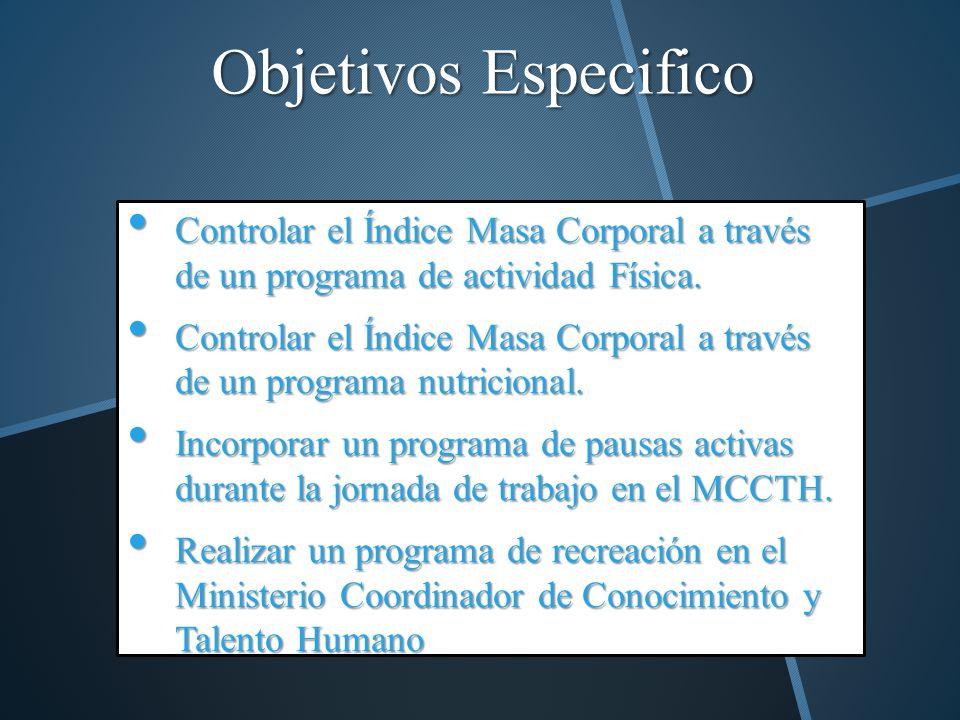 Objetivos Especifico Controlar el Índice Masa Corporal a través de un programa de actividad Física. Controlar el Índice Masa Corporal a través de un p