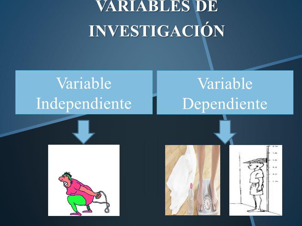 VARIABLES DE INVESTIGACIÓN Variable Independiente Variable Dependiente