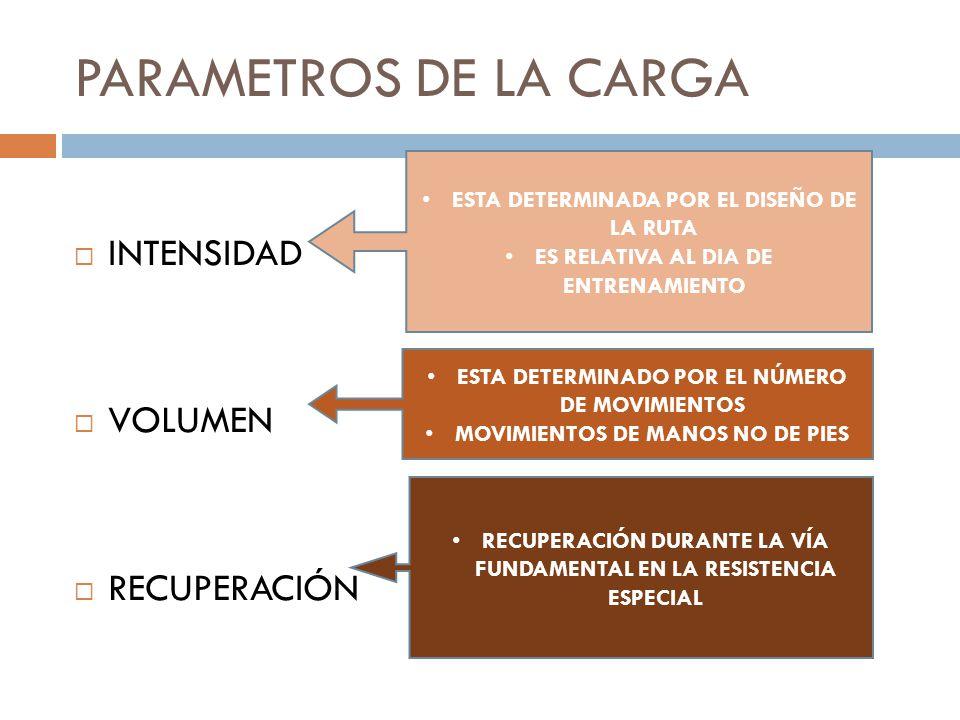 PARAMETROS DE LA CARGA INTENSIDAD VOLUMEN RECUPERACIÓN ESTA DETERMINADA POR EL DISEÑO DE LA RUTA ES RELATIVA AL DIA DE ENTRENAMIENTO ESTA DETERMINADO POR EL NÚMERO DE MOVIMIENTOS MOVIMIENTOS DE MANOS NO DE PIES RECUPERACIÓN DURANTE LA VÍA FUNDAMENTAL EN LA RESISTENCIA ESPECIAL