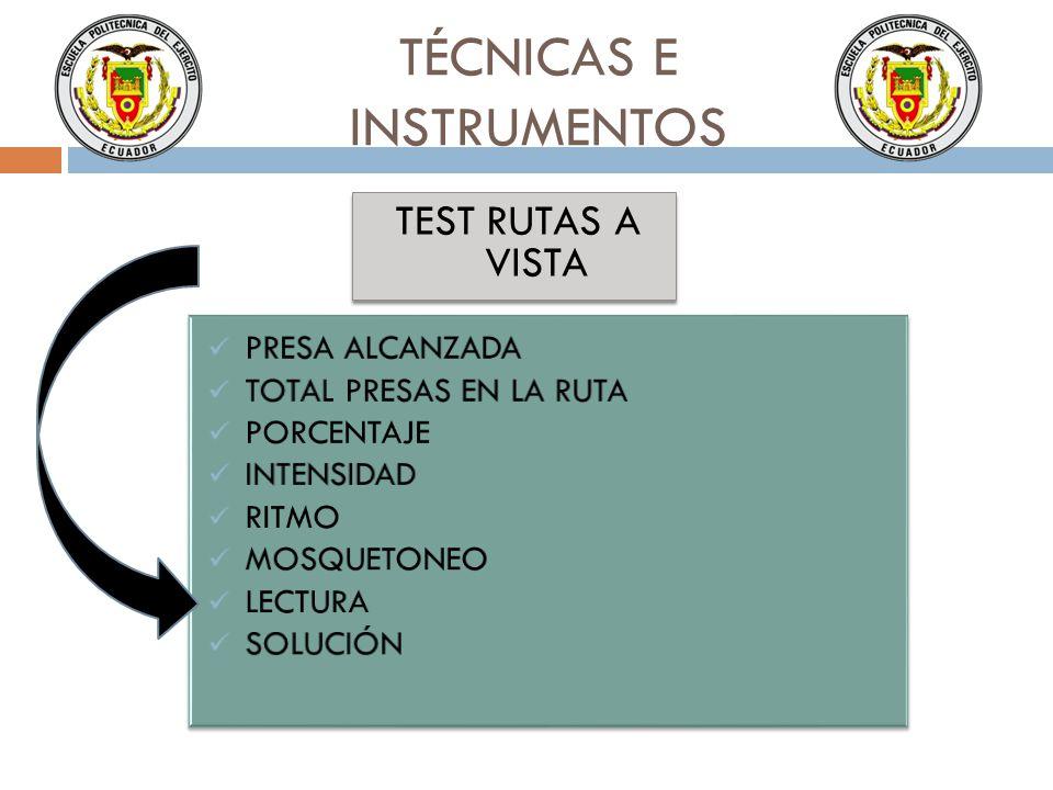 TÉCNICAS E INSTRUMENTOS TEST RUTAS A VISTA