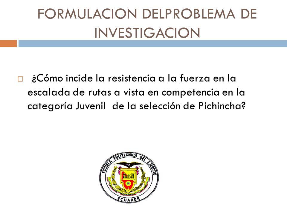 FORMULACION DELPROBLEMA DE INVESTIGACION ¿¿Cómo incide la resistencia a la fuerza en la escalada de rutas a vista en competencia en la categoría Juvenil de la selección de Pichincha?