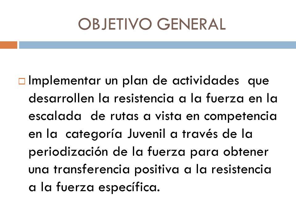 OBJETIVOS ESPECIFICOS Diseñar un plan de periodización de la fuerza mediante bases teóricas para obtener una transferencia positiva a la escalada de rutas a vista en competencia.