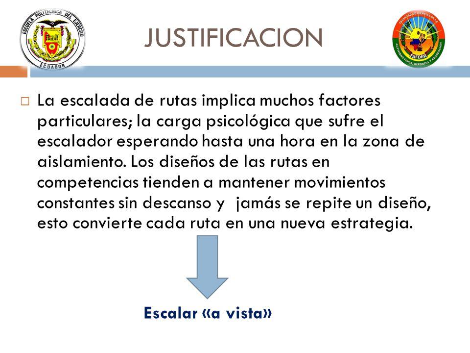 JUSTIFICACION La escalada de rutas implica muchos factores particulares; la carga psicológica que sufre el escalador esperando hasta una hora en la zona de aislamiento.