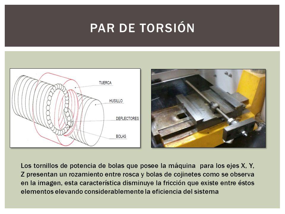PAR DE TORSIÓN Los tornillos de potencia de bolas que posee la máquina para los ejes X, Y, Z presentan un rozamiento entre rosca y bolas de cojinetes