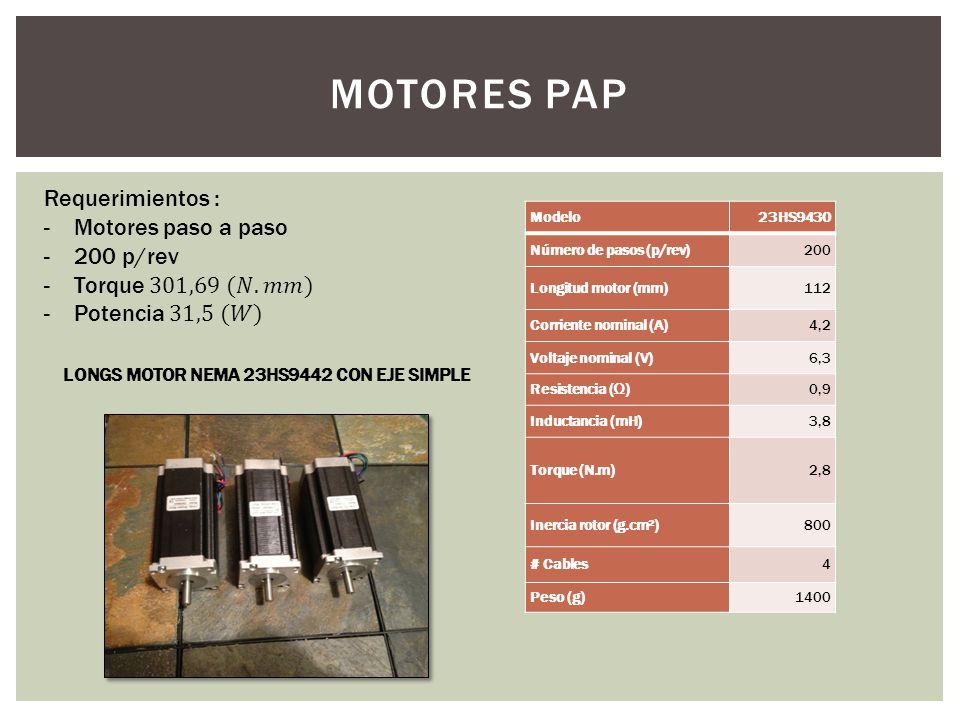 MOTORES PAP Modelo23HS9430 Número de pasos (p/rev)200 Longitud motor (mm)112 Corriente nominal (A)4,2 Voltaje nominal (V)6,3 Resistencia ()0,9 Inducta