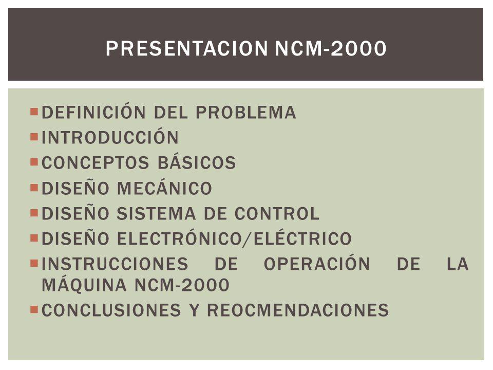 DEFINICIÓN DEL PROBLEMA INTRODUCCIÓN CONCEPTOS BÁSICOS DISEÑO MECÁNICO DISEÑO SISTEMA DE CONTROL DISEÑO ELECTRÓNICO/ELÉCTRICO INSTRUCCIONES DE OPERACI