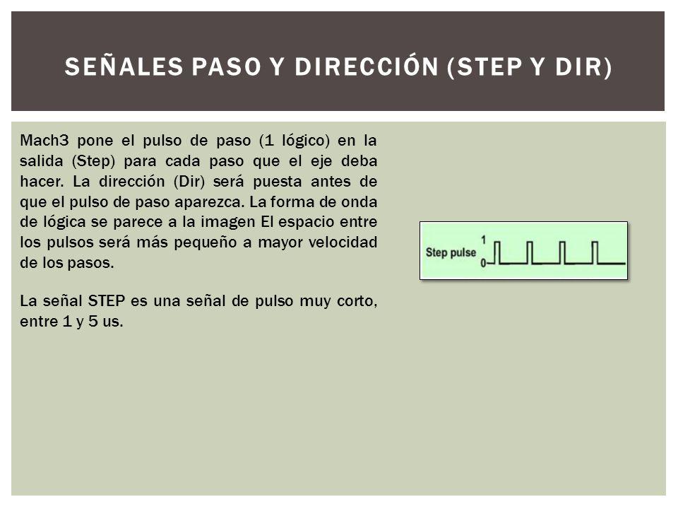 SEÑALES PASO Y DIRECCIÓN (STEP Y DIR) Mach3 pone el pulso de paso (1 lógico) en la salida (Step) para cada paso que el eje deba hacer. La dirección (D