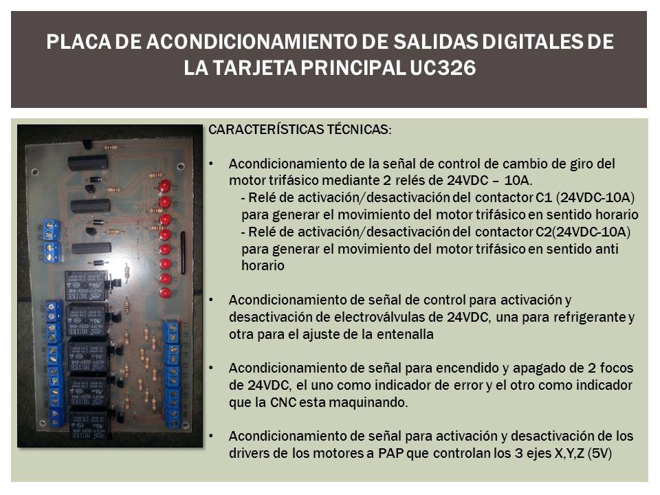 PLACA DE ACONDICIONAMIENTO DE SALIDAS DIGITALES DE LA TARJETA PRINCIPAL UC326 CARACTERÍSTICAS TÉCNICAS: Acondicionamiento de la señal de control de ca