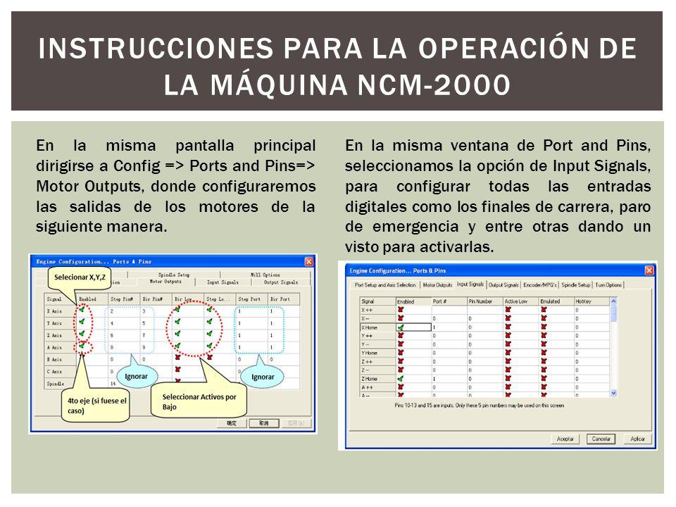 En la misma pantalla principal dirigirse a Config => Ports and Pins=> Motor Outputs, donde configuraremos las salidas de los motores de la siguiente m