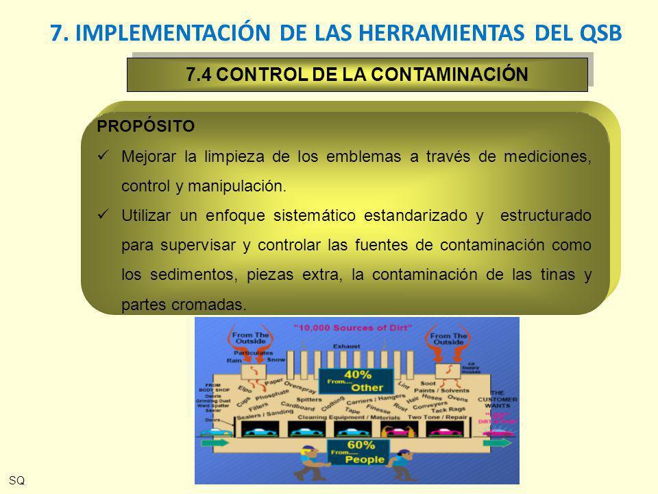 7.4 CONTROL DE LA CONTAMINACIÓN PROPÓSITO Mejorar la limpieza de los emblemas a través de mediciones, control y manipulación. Utilizar un enfoque sist