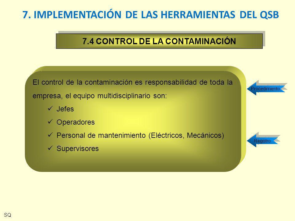 Procedimiento. Registro 7. IMPLEMENTACIÓN DE LAS HERRAMIENTAS DEL QSB El control de la contaminación es responsabilidad de toda la empresa, el equipo