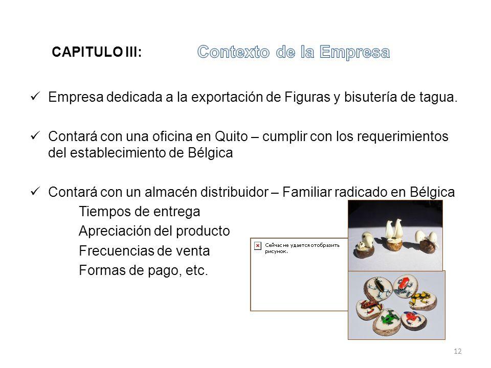 Empresa dedicada a la exportación de Figuras y bisutería de tagua. Contará con una oficina en Quito – cumplir con los requerimientos del establecimien