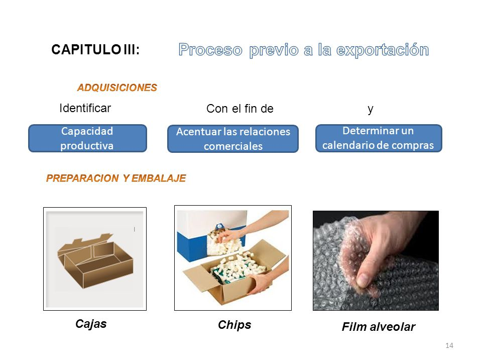 Capacidad productiva Acentuar las relaciones comerciales Determinar un calendario de compras Cajas Chips Film alveolar CAPITULO III: 14 Identificar Co