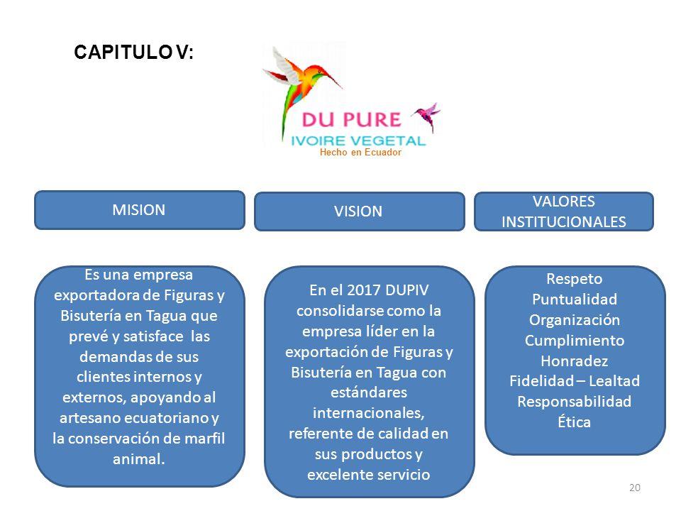 MISION VISION VALORES INSTITUCIONALES Es una empresa exportadora de Figuras y Bisutería en Tagua que prevé y satisface las demandas de sus clientes in
