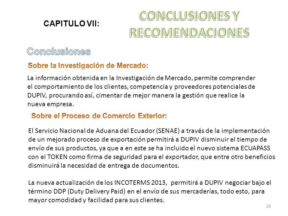CAPITULO VII: La información obtenida en la Investigación de Mercado, permite comprender el comportamiento de los clientes, competencia y proveedores