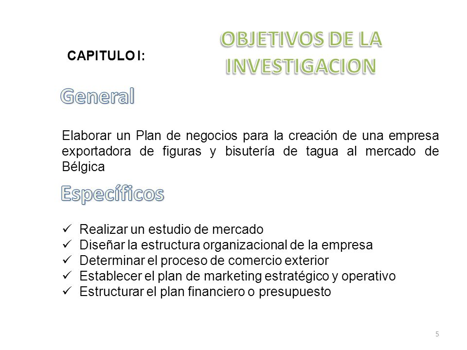 Elaborar un Plan de negocios para la creación de una empresa exportadora de figuras y bisutería de tagua al mercado de Bélgica Realizar un estudio de