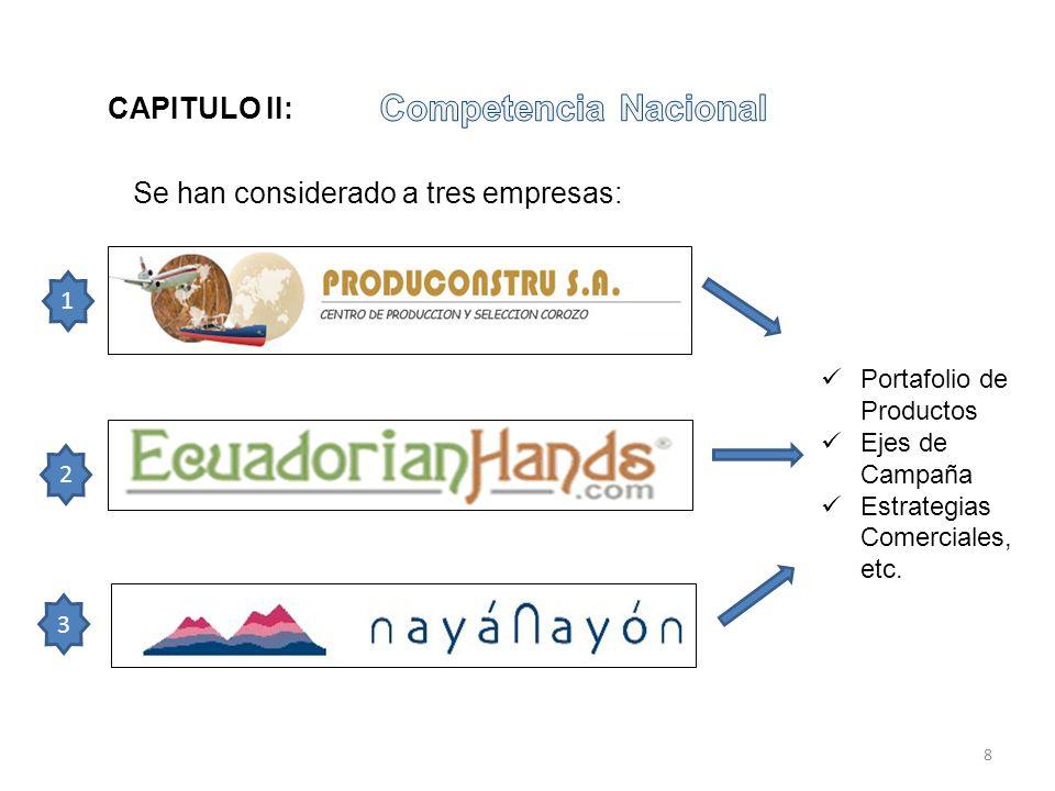 Se han considerado a tres empresas: 1 2 3 Portafolio de Productos Ejes de Campaña Estrategias Comerciales, etc. CAPITULO II: 8