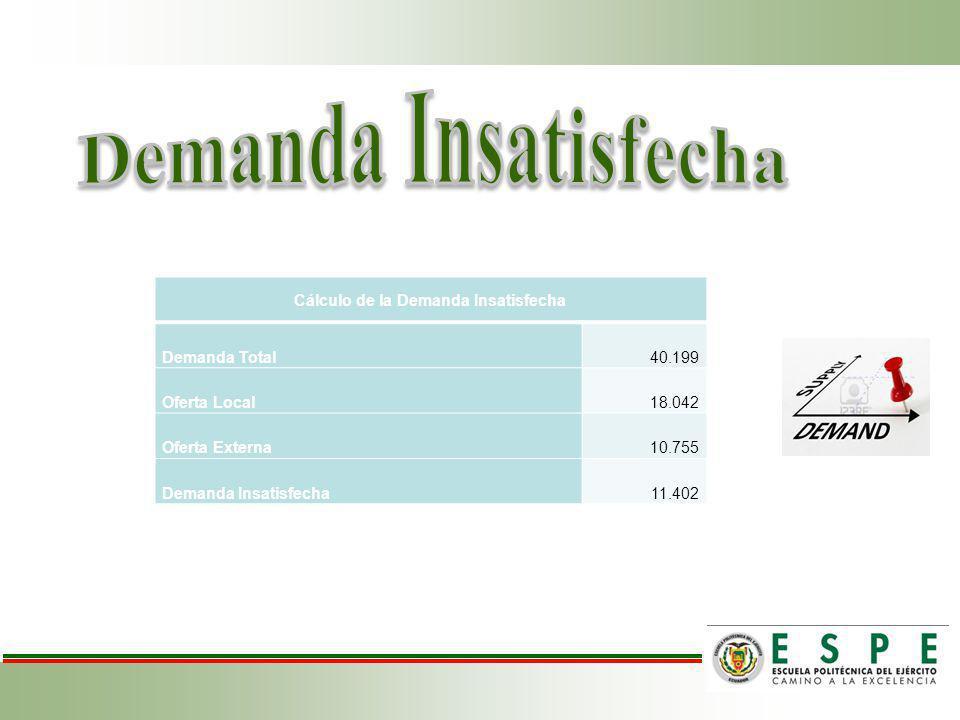 Cálculo de la Demanda Insatisfecha Demanda Total40.199 Oferta Local18.042 Oferta Externa10.755 Demanda Insatisfecha11.402