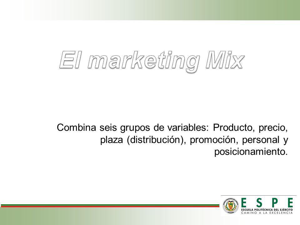 Combina seis grupos de variables: Producto, precio, plaza (distribución), promoción, personal y posicionamiento.