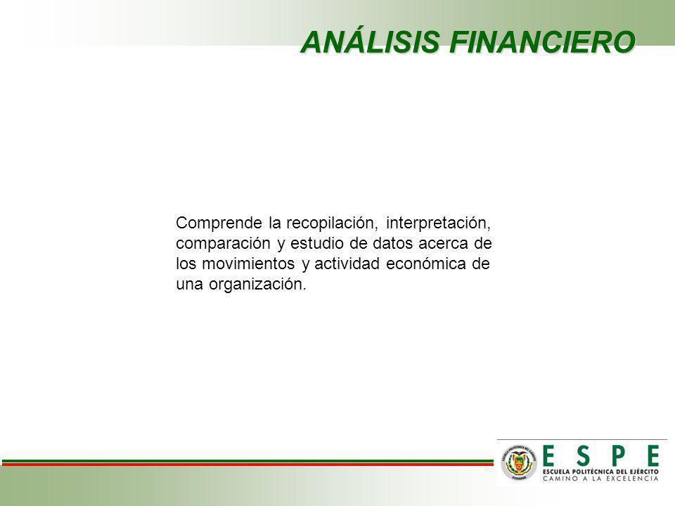 ANÁLISIS FINANCIERO Comprende la recopilación, interpretación, comparación y estudio de datos acerca de los movimientos y actividad económica de una organización.