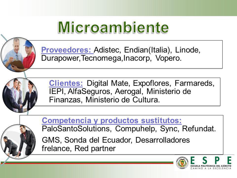 Proveedores: Adistec, Endian(Italia), Linode, Durapower,Tecnomega,Inacorp, Vopero. Clientes: Digital Mate, Expoflores, Farmareds, IEPI, AlfaSeguros, A