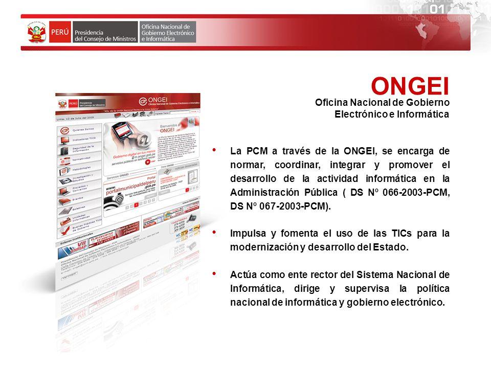 La Presidencia del Consejo de Ministros (PCM).
