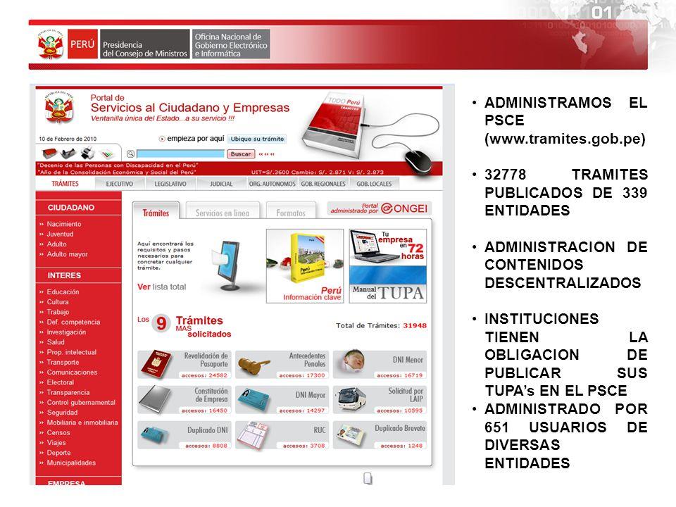 ADMINISTRAMOS EL PSCE (www.tramites.gob.pe) 32778 TRAMITES PUBLICADOS DE 339 ENTIDADES ADMINISTRACION DE CONTENIDOS DESCENTRALIZADOS INSTITUCIONES TIE