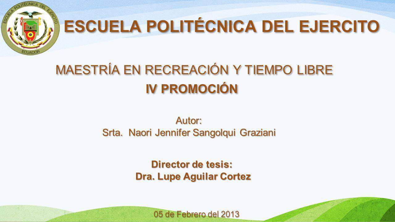 ESCUELA POLITÉCNICA DEL EJERCITO MAESTRÍA EN RECREACIÓN Y TIEMPO LIBRE IV PROMOCIÓN 05 de Febrero del 2013 Autor: Srta. Naori Jennifer Sangolqui Grazi