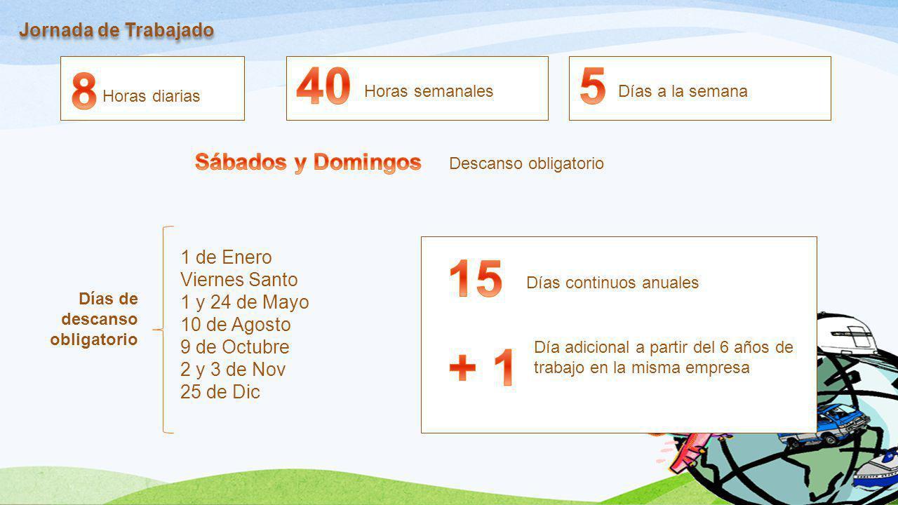 Jornada de Trabajado Horas diarias Horas semanalesDías a la semana Descanso obligatorio 1 de Enero Viernes Santo 1 y 24 de Mayo 10 de Agosto 9 de Octu