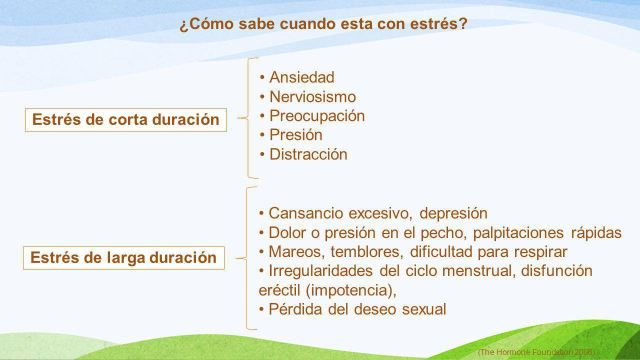 Estrés de corta duración Estrés de larga duración ¿Cómo sabe cuando esta con estrés? (The Hormone Foundation 2006) Ansiedad Nerviosismo Preocupación P