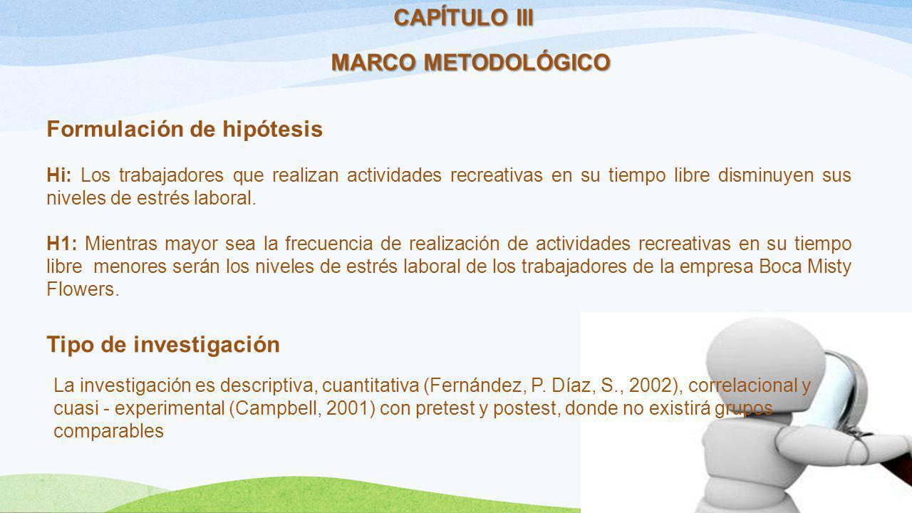 CAPÍTULO III MARCO METODOLÓGICO Formulación de hipótesis Hi: Los trabajadores que realizan actividades recreativas en su tiempo libre disminuyen sus n