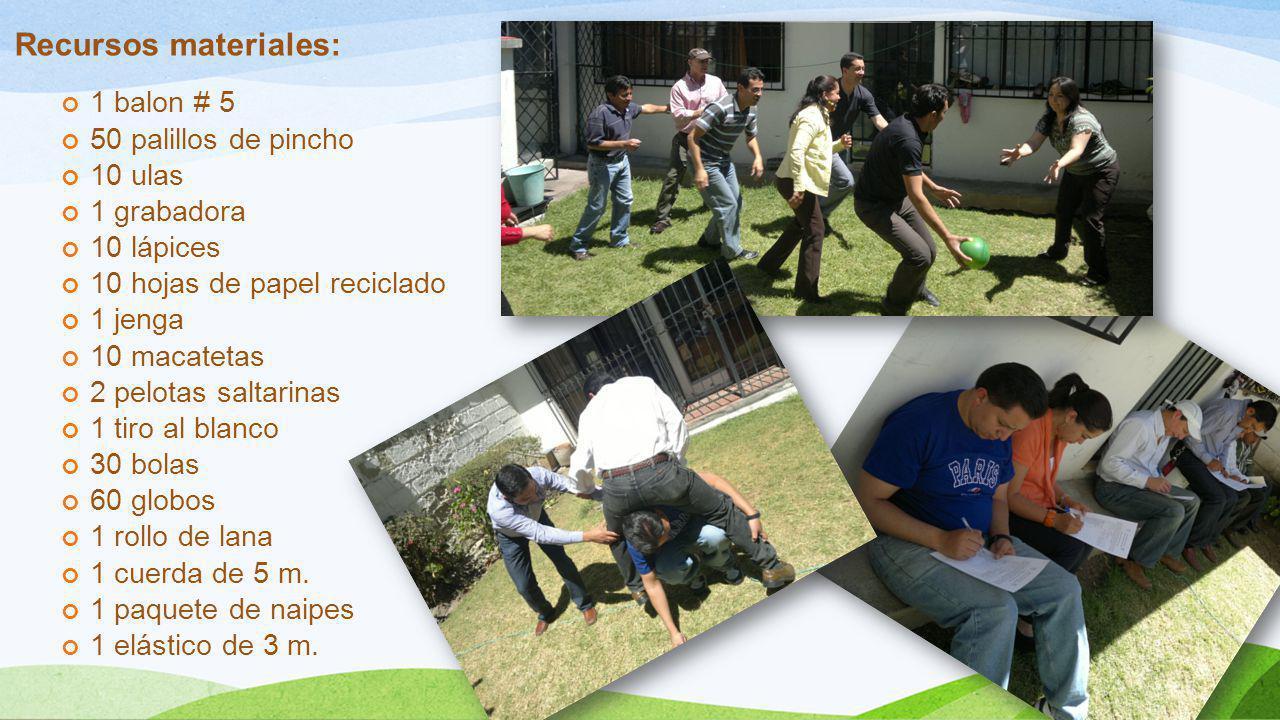 Recursos materiales: 1 balon # 5 50 palillos de pincho 10 ulas 1 grabadora 10 lápices 10 hojas de papel reciclado 1 jenga 10 macatetas 2 pelotas salta