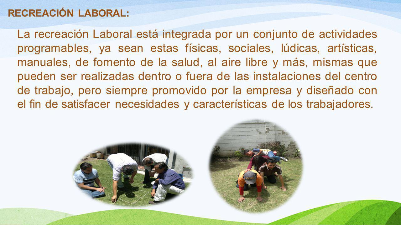 RECREACIÓN LABORAL: La recreación Laboral está integrada por un conjunto de actividades programables, ya sean estas físicas, sociales, lúdicas, artíst