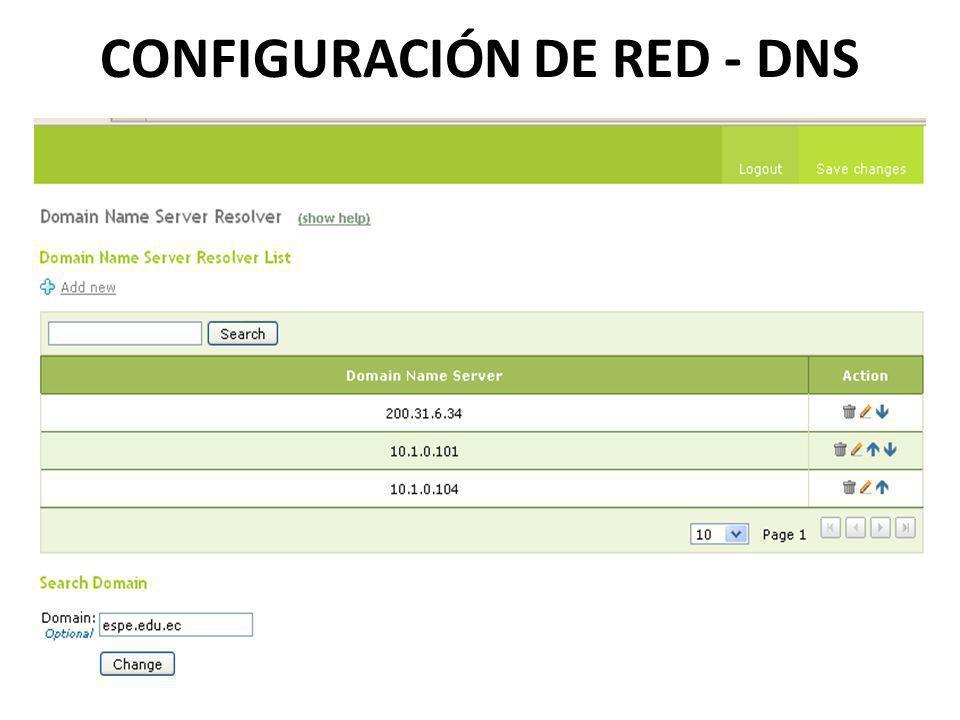 CONFIGURACIÓN DE RED - DNS