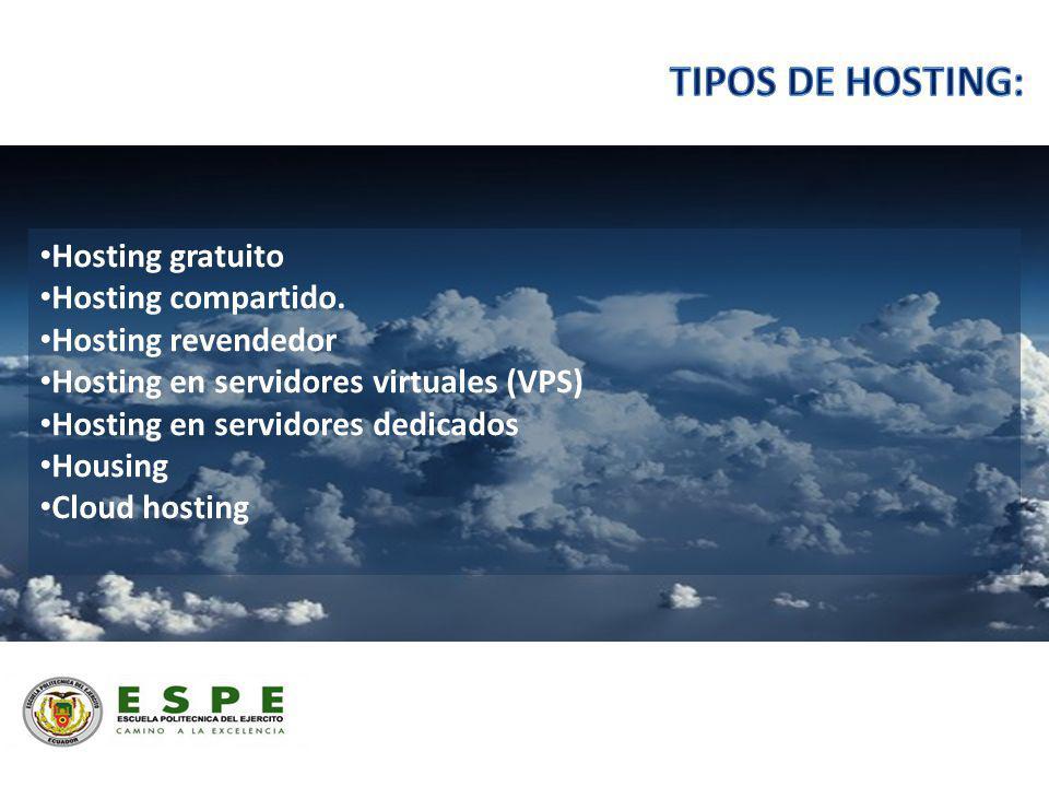 Hosting gratuito Hosting compartido. Hosting revendedor Hosting en servidores virtuales (VPS) Hosting en servidores dedicados Housing Cloud hosting