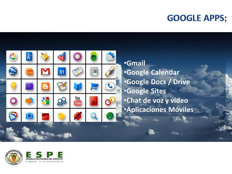Gmail Google Calendar Google Docs / Drive Google Sites Chat de voz y vídeo Aplicaciones Móviles